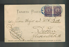 1903 Asuncion Paraguay to Dresden Germany Postcard Cover Major Rose Water Woman