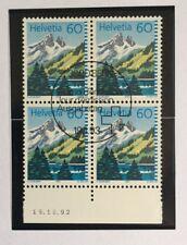 Bloc 4 timbres suisses YT CH1418, Zum:CH 837 oblitéré 1er jour daté
