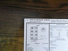 1978 Dodge & Plymouth EIGHT Series Models 318 CI V8 4BBL Tune Up Chart