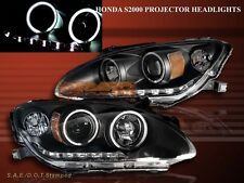 2000-2003 HONDA S2000 PROJECTOR HEADLIGHTS TWO HALO LED CCFL BLACK AMBER