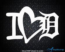 "I Love Detroit Tigers Baseball Car Decal / Laptop Sticker - White 5"""