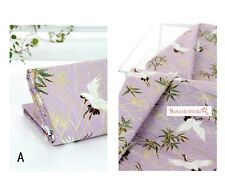 Vintage Japanese Cotton Fabric Cloth bird crane purple by 1/2 yard