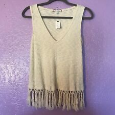 Anthropologie Eri + Ali Redonda Fringed Tassel Hem Tank Top in Cream sz S