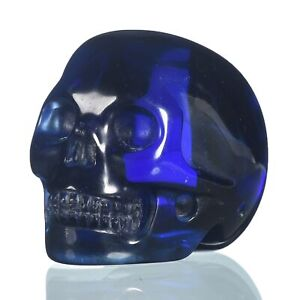 "1.97""Deep Blue Obsidian Crystal Carved Skull Metaphysic Healing Power #33B08"