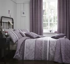 BANDED FLORAL LEAVES HEATHER PURPLE LILAC SUPER KING DUVET COVER