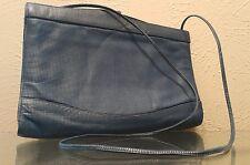 Vin. Charles Jourdan Paris Blue Leather Hinge Envelope Clutch Crossbody Handbag