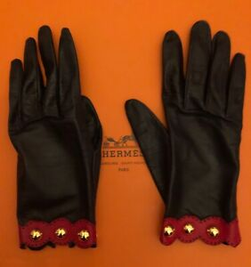 AUTHENTIC HERMES Leather Gloves Women Navy Red Trim Gold Vintage Pre-owned 7