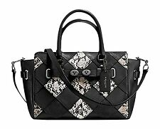 8588-1 Coach Womens Carryall Snake Embossed Patchwork Leather Bag Black $595