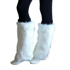 Soft Women Fluffy Fuzzy Faux Fur Leg Warmers Muffs Boot Covers -White