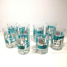 "8 Vtg MCM Blue Heaven Juice Glasses Tumblers Royal China 4 oz 3.5"" Mid Century"