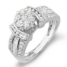 Baguette Diamond Ladies Bridal Right Hand Ring 1.00 Ct 14k White Gold Round &