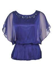 J.R. NITES  Women's Size 6 Nuroyal Blue Beaded Dolman Sleeve Chiffon Top