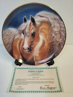 """""""Golden Lights""""  Horse Danbury Mint Limited Edition Collectors Plate w23Kt Gold"""