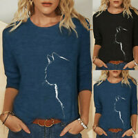 Women White Cat Print Crew Neck Long Sleeve Casual T Shirt Tee Loose Blouse Tops
