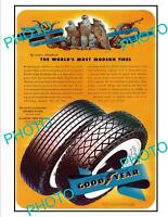 OLD LARGE HISTORIC ADVERTISING POSTER, GOODYEAR WHITE WALL CAR TIRES c1940s
