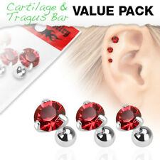 3 Pc Red Round CZ Ear Cartilage Daith Tragus Helix Earrings Barbell Studs