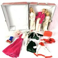 Vintage Red Fashion Doll Wardrobe Trunk Carrying Case 12.5x10 w/ Dolls & Clothes