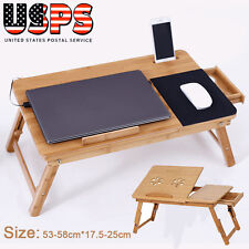 Adjustable Bamboo Laptop Desk Table Folding Breakfast Bed Serving Tray w/ Drawer