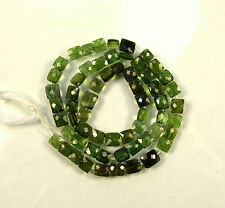 "Shaded GREEN TOURMALINE faceted rectangular beads AAA 5-7.5mm 14.5""strand"