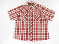 Wrangler Mens Shirt XXL Pearl Snap Red White Plaid Silver Thread Short Sleeve