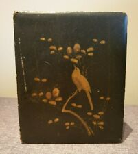 Vintage Oriental Black Box with Hand-painted Golden Bird in Blossom Tree Design
