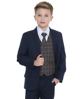 Boys Suits Boys Check Suits, Page Boy Wedding Prom Formal Suit, Boys Navy Suit F