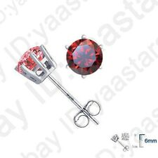 Red Cz 6 Claw Stud Earrings Classic Women Jewelry Gifts 925 Sterling Silver