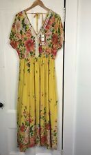 NWT Anthropologie Farm Rio Yellow Samara Floral Maxi Dress L