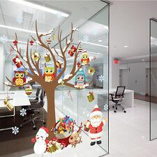 1Pcs Sticker Autocollant Hibou Arbre Père Noël Sapin Maison Fenêtre Mural Cadeau