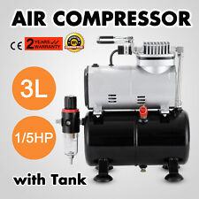 1/6HP Airbrush Compressor Kit Dual Action Air Brush Spray Gun 3 Needles Art Set