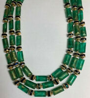 Vintage Green Necklace Beaded Triple Strand Hong Kong
