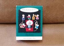 "Hallmark ""Tiny Treasures"" Set of Six Mice Miniature Ornaments 1995 New in Box"