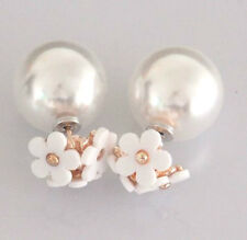 ROSE GOLD WHITE DAISY FLOWER DOUBLE PEARL BALL STUD EARRINGS 16MM