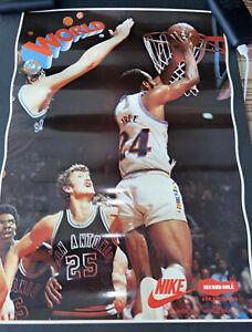 """EXCEPTIONAL c. 1979 NIKE~17x24 NBA """"WORLD"""" B FREE SECOND SOLE SHOES STORE POSTER"""