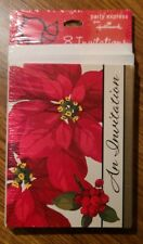 New Hallmark Christmas Party Invitations 8 Count Sealed Poinsettias