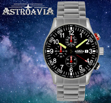 ASTROAVIA Mens Watch Steel Strap Aviator Military Pilot Quartz Chronograph RELOJ