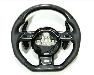 Audi A4 A5 S4 S5 Q5 SQ5 Steering Wheel Carbon Fiber Leather Paddle Shifts Badge