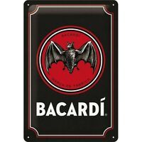 Bacardi Rum Fledermaus Nostalgie Blechschild 30cm Tin Sign shield