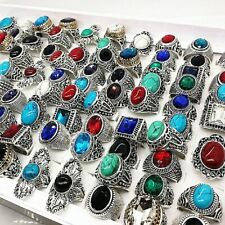 Mixmax 20pcs/lot nature stone silver rings men vintage alloy couple anillo ho… 00004000