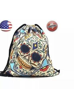 Drawstring Sugar Skull Backpack String Bag Carry Sack Pack Sport Gym Travel Tote
