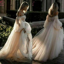 Beach Boho Wedding Dresses Champagne Bridal Gowns Off Shoulder A-Line Tulle 2021