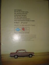 Old car advert the Riley 4 Seventy Two 1965 ref BW