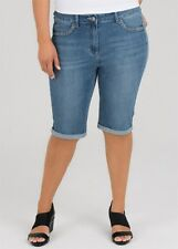 Plus Size Stretchy Denim Blue Shorts Flattering Fit -Knee Length Size 18 RRP $90