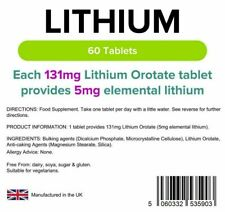 Lindens UK - Lithium 5mg - 60 Tablets, From Lithium Orotate 131mg