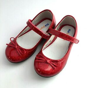 Kid Express girl red glitter patent Mary Jane US 7