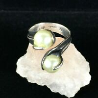 Vintage Sterling Silver Taxco Bypass Wrap Ring MOP Stones Hallmarked CRM Size 7