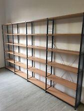 Bücherregal Regal Regalreihe 362x25x208cm Metallgestell mit Holzböden