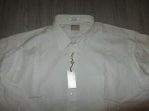 NWT Gitman Gold Master Shirt Makers TTX Pinpoint Dress Shirt 18.5 38 Ivory USA