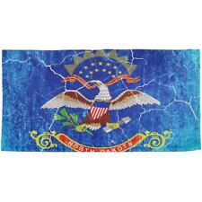 North Dakota Vintage Distressed State Flag All Over Beach Towel