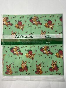 "All Occasion Gift Wrap 2 Sheets 20"" X 30"" Bunny Strawberries Cute Vintage Easter"